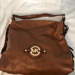 MICHAEL KORS tan leather hobo  bag